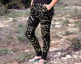 Black Aeraud Pattern on Organic Cotton Jogger Pants