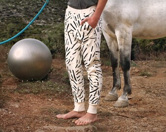 White Aeraud Pattern on Organic Cotton Jogger Pants
