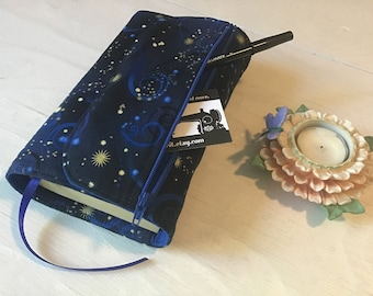 Small book cover, paperback, book wrap, book protector ~ starry nights
