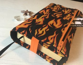 Adjustable small book cover, book sleeve, book protector ~ Hot Flames