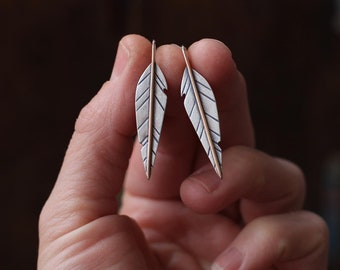Mixed Metal Feather Earrings ~ Sterling Silver and Bronze Feather Earrings ~ Courage Feather Earrings ~ COURAGE or Personalized Customized