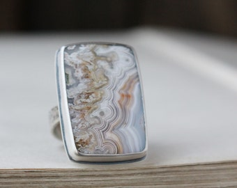 Open Book ~ crazy lace agate and sterling silver ring, made to order in your size, stamped with your personal message