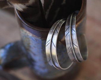 Sterling Silver Feather Hoop Earrings, Handmade Feather Hoop Earrings, Personalized Hoop Earrings