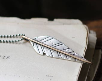 rustic sterling silver and bronze mixed metal feather pendant, your custom/personalized message stamped pendant, 30 inch chain