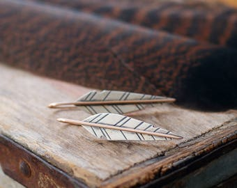 sterling silver and bronze mixed metal feather earrings ~ COURAGE or your personalized stamped word