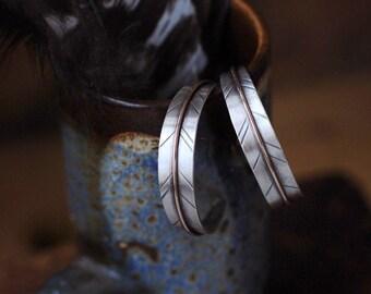 Sterling Silver and Bronze Hoop Earrings, Feather Hoop Earrings, Mixed Metal Personalized Hoop Earrings