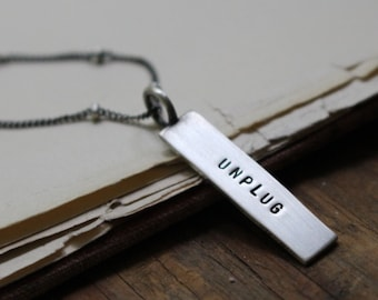 Unplug ~ sterling silver mini message tag charm necklace, 18 inches ~ READY TO SHIP
