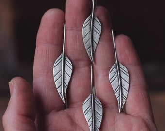 Sterling Silver Stamped Leaf Earrings ~ Handmade Leaf Earrings ~ stamped GYPSY or customized with your word ~ made to order