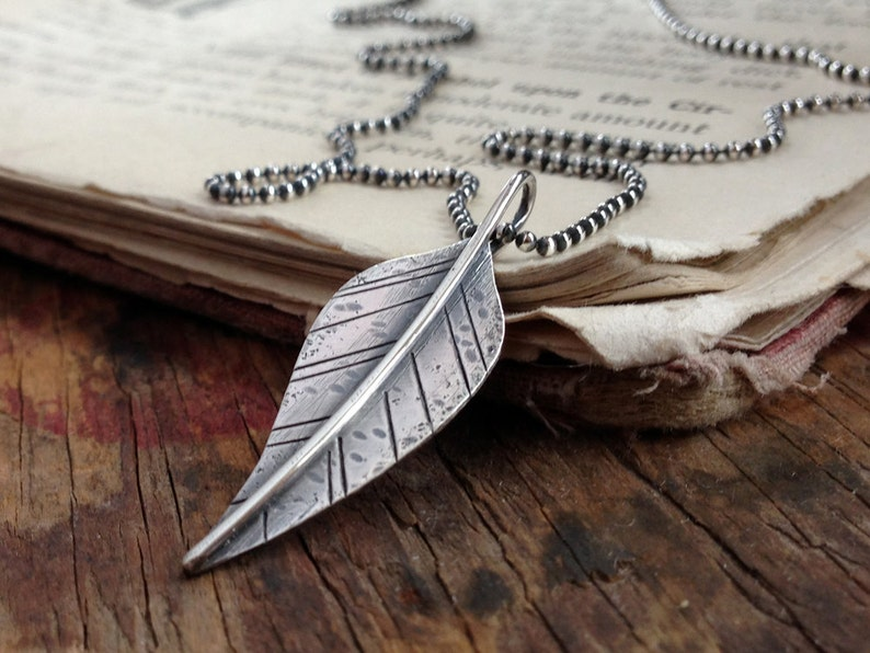 Sterling Silver Leaf Necklace  Ready to Ship Stamped Leaf image 0