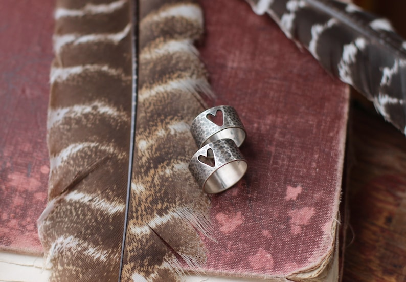 READY to SHIP  Rustic Sterling Silver Love Ring  Hammered image 0