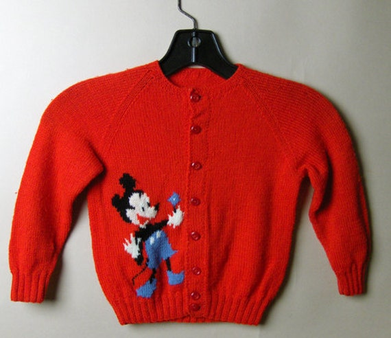 1950s childs hand knit cardigan sweater with old s