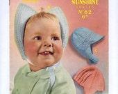 1950s Three Baby's Bonnets PDF Vintage Knitting Pattern 124