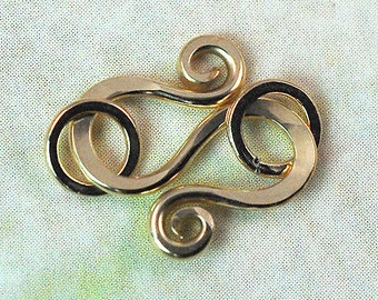 14K Gold Filled S Hook with Jumprings, 20 gauge Handmade: 1 Clasp