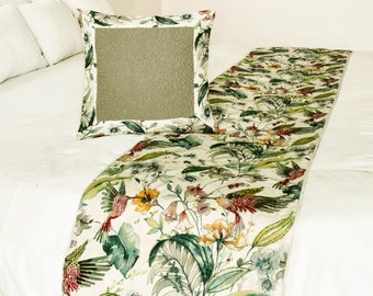 King / Queen / Twin Ivory Multi Color Bed Runner with Decorative Throw Pillow Cover in Floral & Bird Pattern, Beaded Embroidery-Exotic Birds