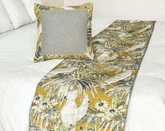King / Queen / Twin Mustard / Grey / Ivory Color Quilted Bed Runner with Decorative Throw Pillow Cover in Floral Bird Pattern- Cockatoo Love
