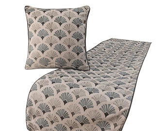 King / Queen / Twin Grey And Blue Bed Runner with Decorative Throw Pillow Cover in Cotton Floral Embroidery Contemporary - Flourish Bloom