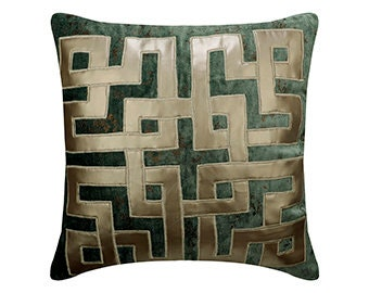 Lattice Pattern Dark Teal-Gold /& Silver, 18x18 inches The White Petals Dark Teal Decorative Throw Pillow Cover