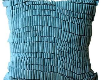 "Decorative 18""x18"" Teal Blue Sofa Pillow Cover, Felt Throw Pillow Cover Throw Pillow Cover Custom Solid Color Modern Style - Texturize"