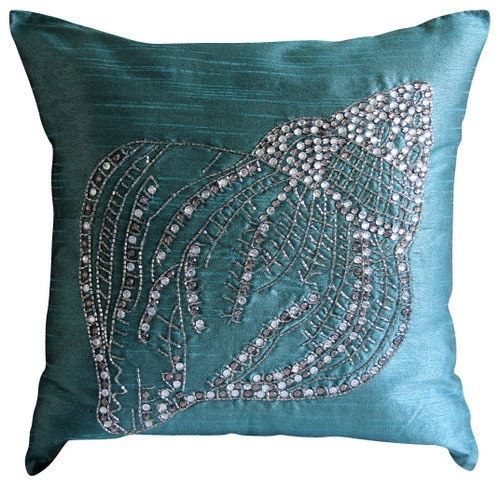 Designer Teal Blue Decorative Pillows Cover Sea Shell ...