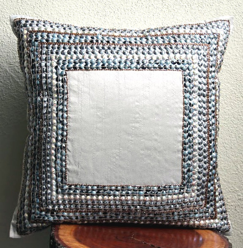 Decorative Throw Pillow Sham Covers 24x24 Silk Embroidered Accent Bead Pillow Sham Cover Sofa Couch Pillows Bed Pillow Cases Refreshed