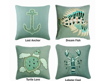 Decorative Throw Pillow Cover, Light Grey Blue Cotton Linen Pillow Cover with Bead & Pearl Embroidery, Sea Creature Themed Pillow Collection