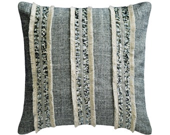 """Decorative Pillow Cover 16""""x16"""" Throw Pillow Cover Cotton Jacquard Textured with Lace & Sequins Cushion Cover Moroccan Style - Moroccan Daze"""