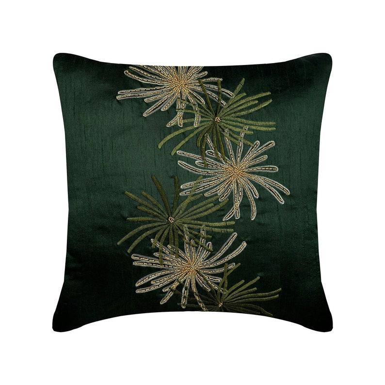 Luxury Dark Green Throw Pillows Cover 16x16 Silk | Etsy