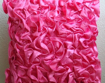 """Fuchsia Pink Cushion Covers, 16""""x16"""" Satin Pillow Covers, Square  Vintage Style Ruffles Shabby Chic Throw Pillows Cover - Vintage Fuchsia"""