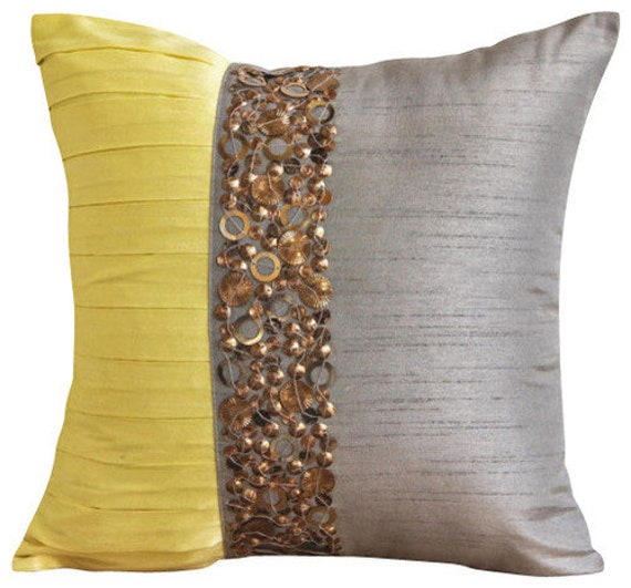 Decorative Gray Cushion Pillow Art Silk