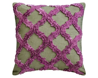 """Decorative Throw Pillow Cover 16""""x16"""" Linen Sofa Pillow Cover Ribbon Embroidery Geometric Pattern Modern Style Home Decor - Quilling Purple"""