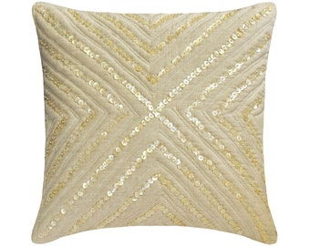 """Decorative Throw Pillow Cover 16""""x16"""" Linen Sofa Pillow Cover Quilted with Mother Of Pearl Embroidery Contemporary Home Decor - Pearlish"""