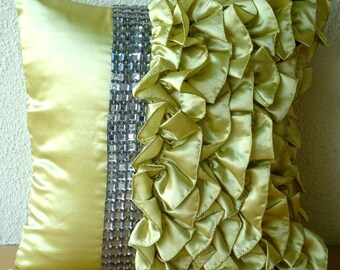 Diamonds N Ruffles - Throw Pillow Covers, 16x16 Inches Satin Pillow cover with Ruffles and Crystals
