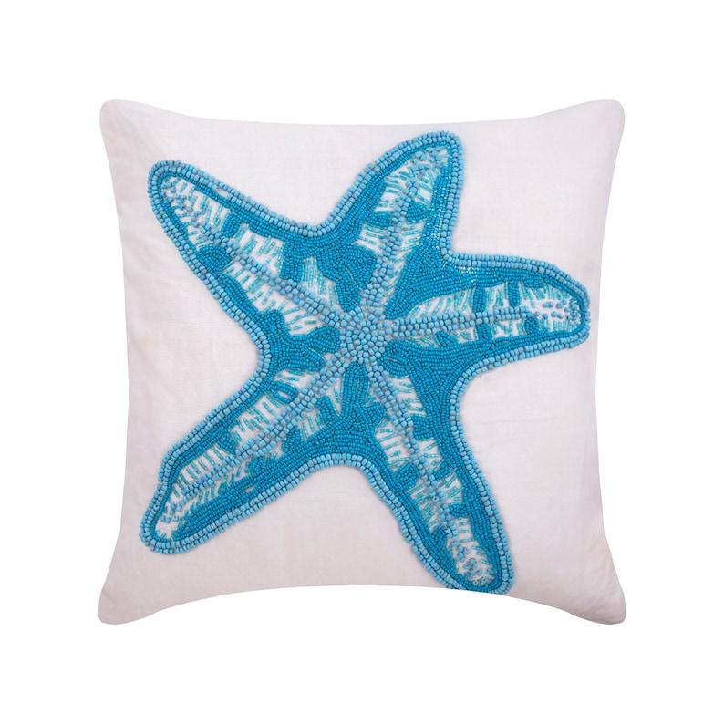 Linen White Throws For Sofa 24x2426x26 Starfish Island Decorative Toss Cushion Starfish Cushions Sea Creatures Pattern Beach Style