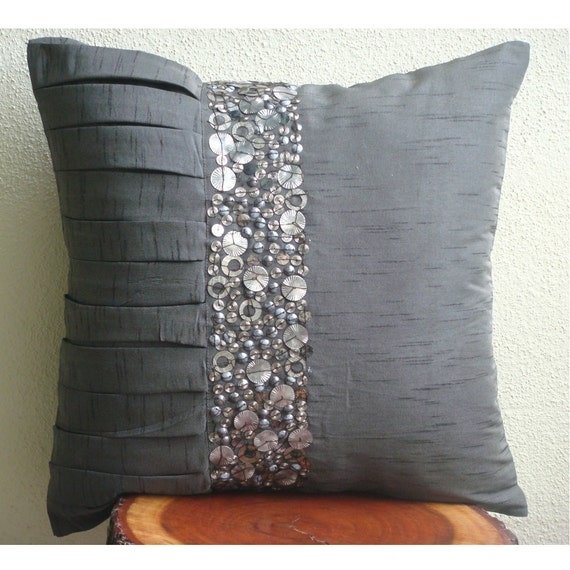 Designer Grey Throw Pillows Cover For Couch Sequins And Etsy