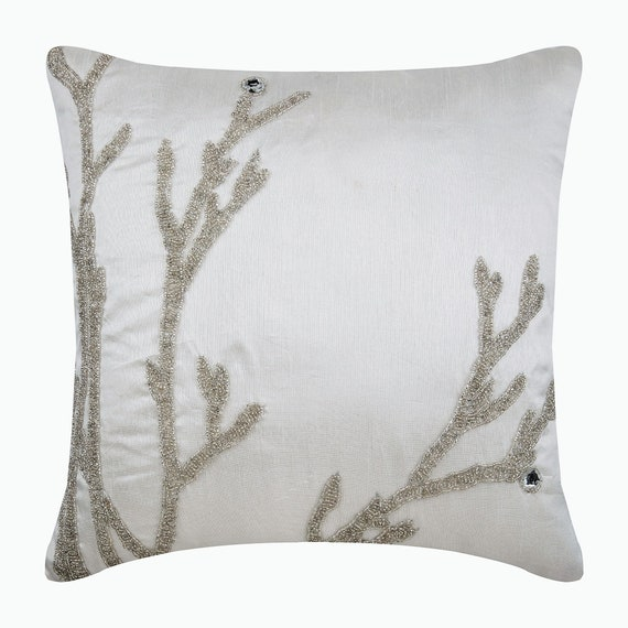 Willow Sparkle Square Silk Cushions Covers for Couch The HomeCentric Designer Silver Cushion Covers Beaded Willow Cushions Cover Floral Contemporary 16x16 inch 40x40 cm Throw Cushions Cover