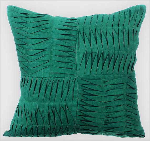 Green Decorative Pillow Cover40x40 Cotton Linen Etsy Custom Teal Green Decorative Pillows