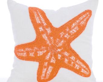 "White Accent Pillows, 16""x16"" Square Cotton Linen Throw Pillows Cover - Starfish Makeover"
