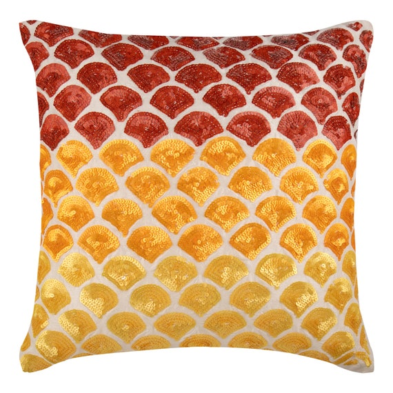 Red Yellow Decorative Throw Pillow Covers Accent Pillow Etsy