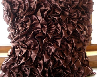 """Luxury Dark Brown Pillow Covers, 16""""x16"""" Satin Pillows Cover, Square  Vintage Style Ruffles Shabby Chic Pillow Covers - Vintage Browns"""