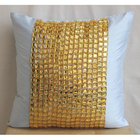 Designer Bleu Clair Jeter Coussins Couverture Pour Couch, Or Strass Et Cristaux Coussins Couverture Carré 45x45 cm Soie - Gold Bling