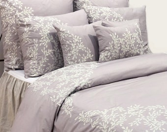 Queen & King Duvet Cover Set In Soft Lilac Cotton Fabric with Crewel Embroidery, 8 Pc Set - Lilac Ivy