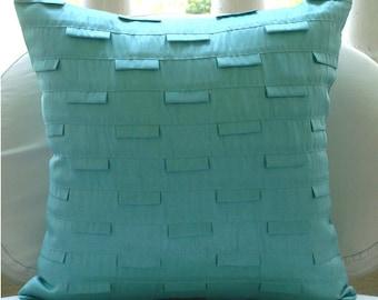 Luxury Cushion Covers 18 x 18 Aqua Blue, Pintucks Textured Decorative Pillows Cover Square Silk Pillows Covers For Couch - Blue Ocean