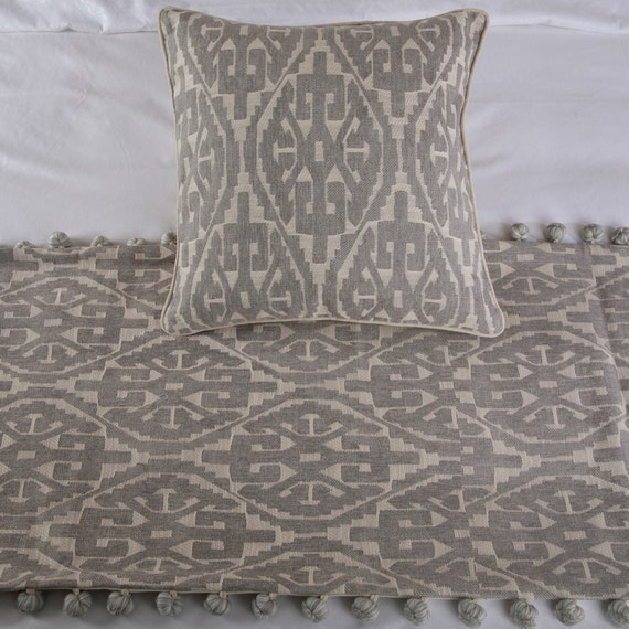 Grey Aztec King  Queen  Twin Grey Bed Runner with Decorative Throw Pillow Cover Modern Contemporary Cotton Aztec Pattern with Tassels