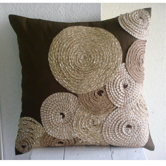 Enjoyable Handmade Brown Throw Pillows Cover For Couch 16X16 Silk Pillows Cover Square Spiral Jute Pillows Cover For Couch Bed Adorned By Jute Caraccident5 Cool Chair Designs And Ideas Caraccident5Info