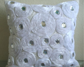 White Heaven - Pillow Sham Covers - 24x24 Inches Silk Pillow Sham Cover with Satin Embroidery