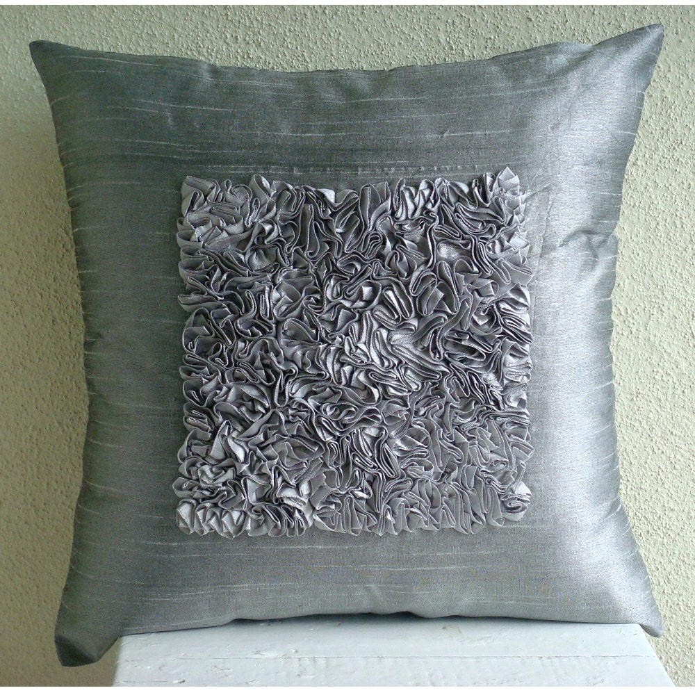 luxury silver throw pillows cover 16x16 silk etsy. Black Bedroom Furniture Sets. Home Design Ideas