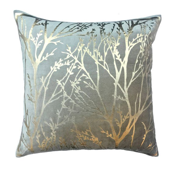 Designer Taupe Colour Foil Printed Throw Pillow Cover Etsy Mesmerizing Throw Pillow Covers Etsy