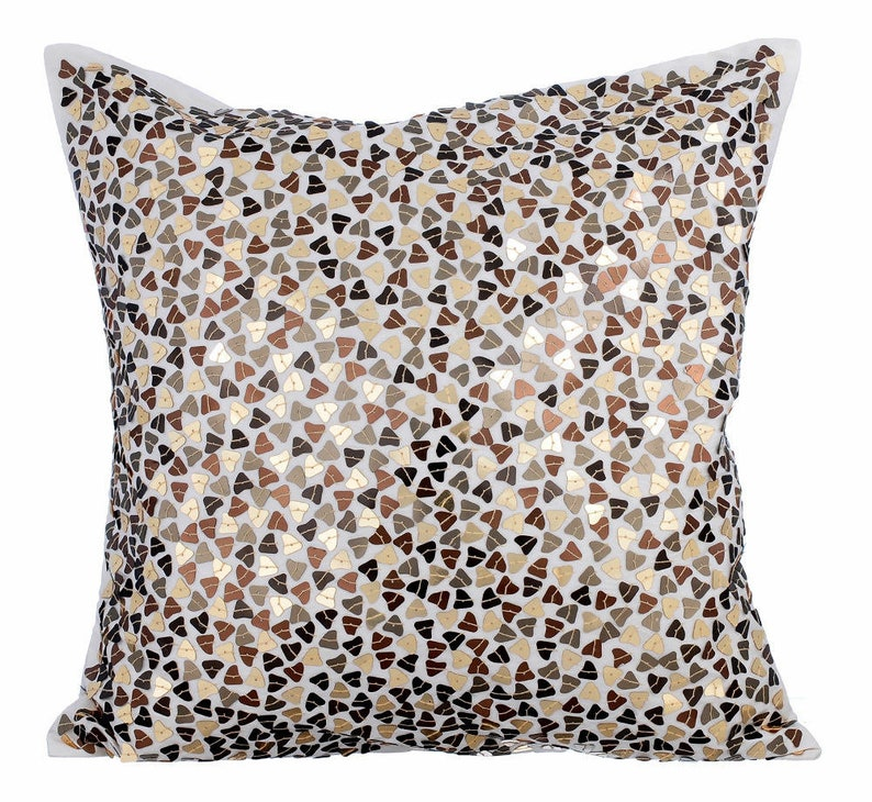 Antique Gold Decorative Pillow Sham Covers 24x24 Silk Pillow Sham Cover Copper Pillow Sham Silver Sequin Embroidered Metallic Fusion