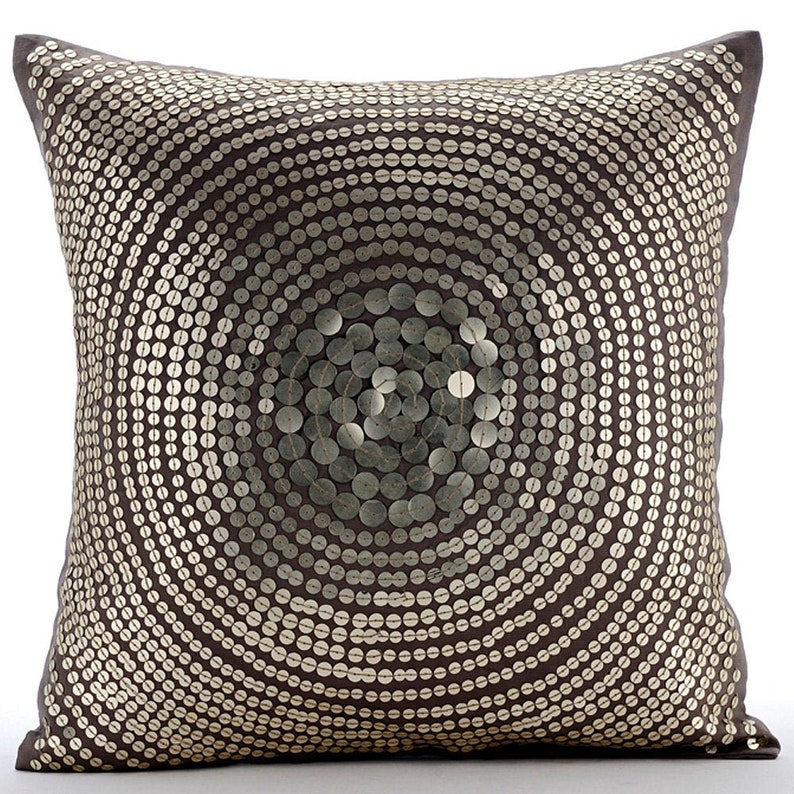 Art Silk Gray Toss Throw Pillow 16x16 Decorative Etsy