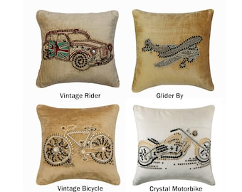 Decorative Throw Pillow Cover, Beige /Ivory Velvet Pillow Cover with Crystal & Sequins Embroidery Vintage Transport Themed Pillow Collection